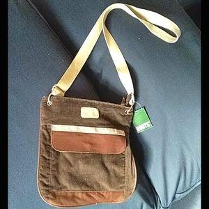 Roots crossbody brown corduroy purse